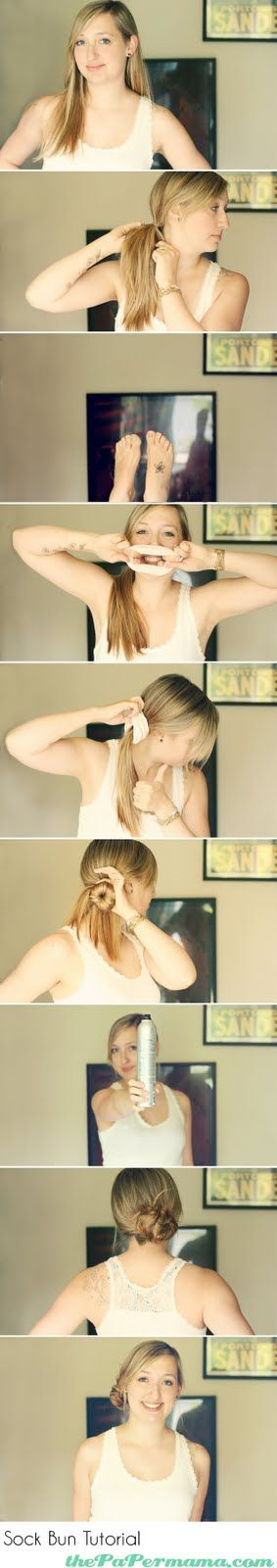 Kinda messy Sock Bun tutorial. This method works better for fine, slippery hair.