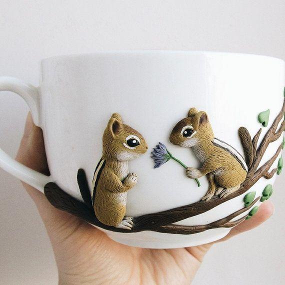 Cute chipmunks - personalized mugs - custom mug - polymer clay mug - original decorated mug - ceramic cup - unique design mug