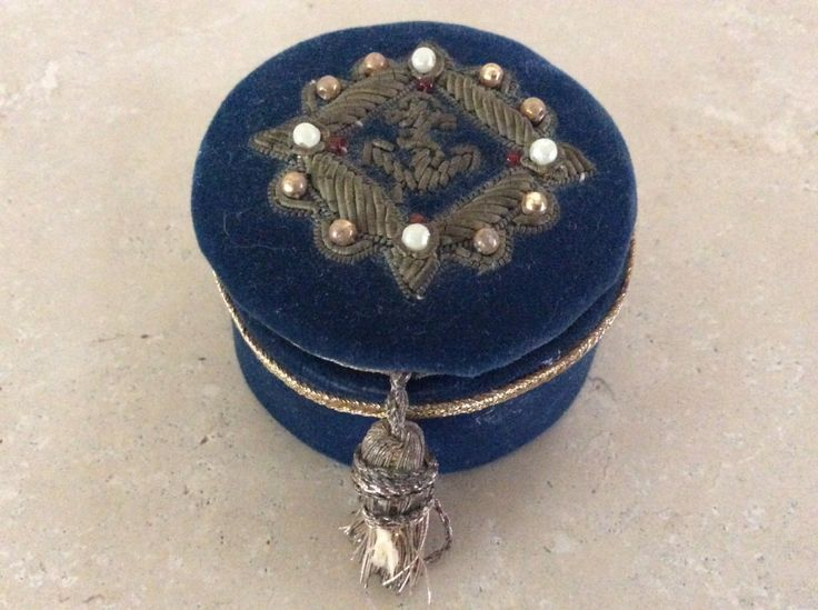 Antique / Vintage Small Blue Velvet Embroidered Box with an Anchor by TillyFritz on Etsy