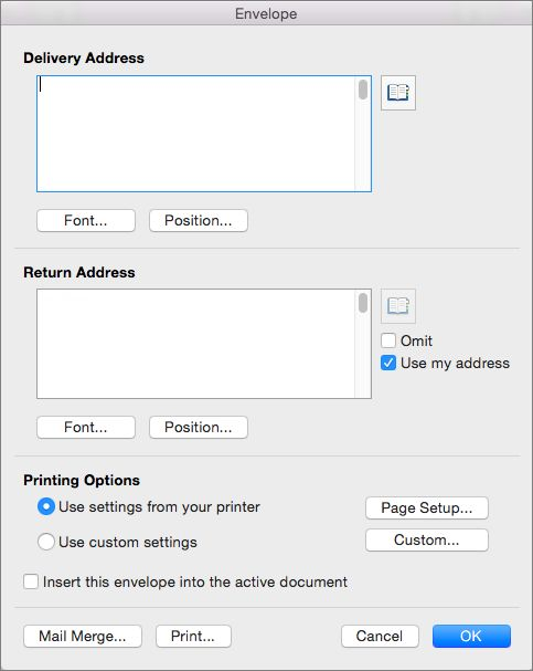 Print Custom Envelope Size Microsoft Word