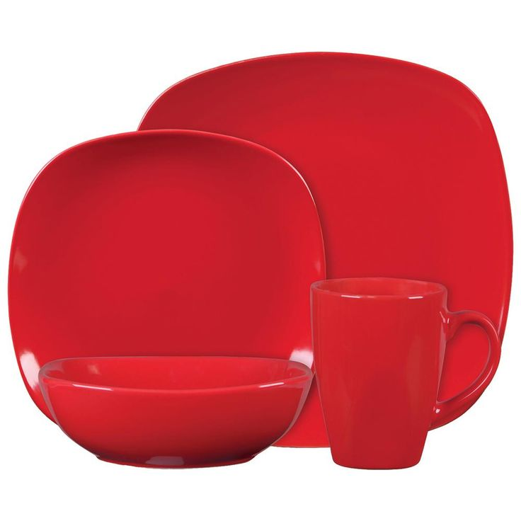 Canby Park 16 Piece Red Dinnerware Set