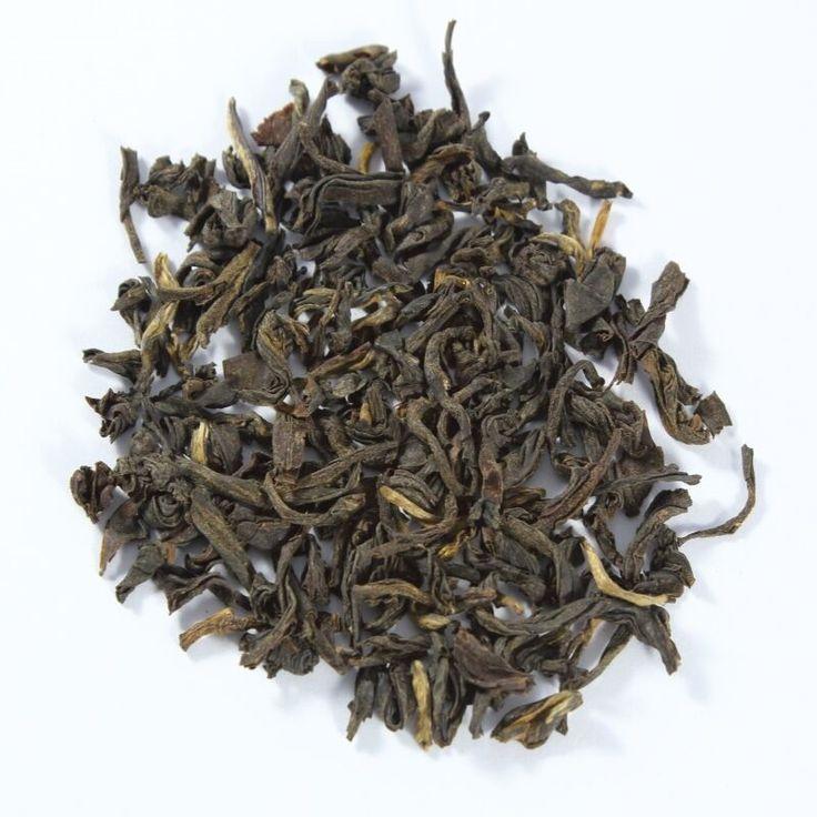 China FOP Yunnan.  Té negro chino de la provincia de Yunnan tiene fama en cuanto a calidad y sabor característico. Aromático y ligeramente picante. Sus hojas son enrolladas a lo largo.
