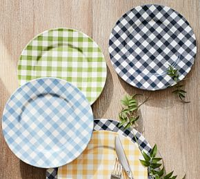 Gingham Dinner Plate, Set of 4 - Sailor Blue