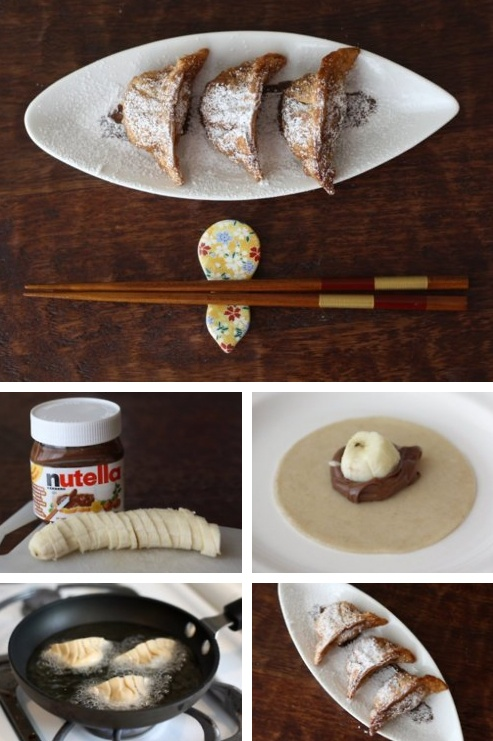 Nutella Banana Gyoza Dumplings! I'm also going to try these with guava and cheese. Maybe then go salty with meat and cheese, turkey and cheese... See a pattern?
