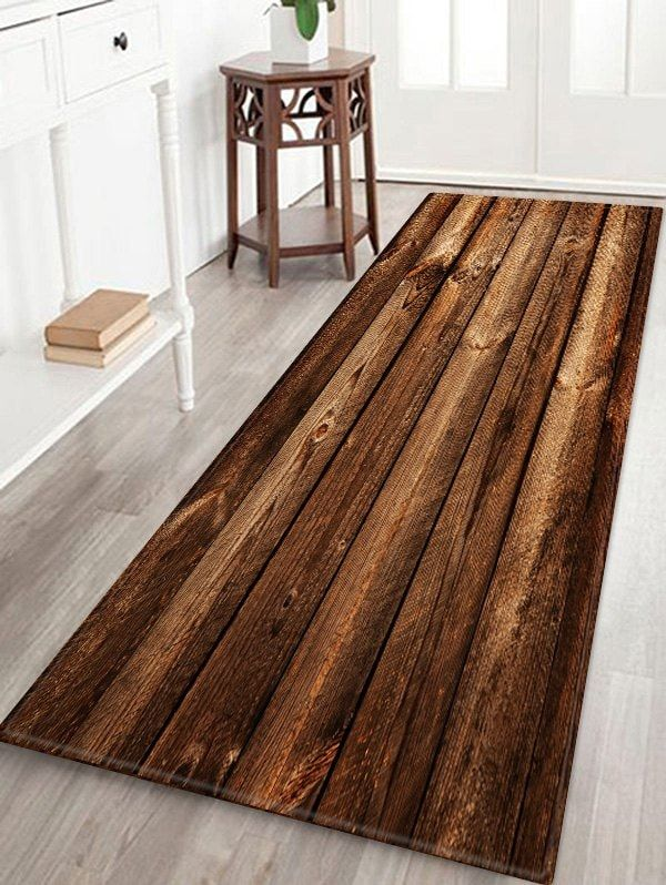 Wooden Print Water Absorption Area Rug Deep Brown W24 Inch