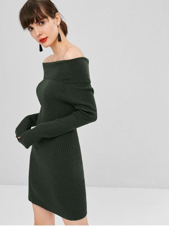 Ribbed Off Shoulder Sweater Dress - Army Green  zaful dresses ... 125afe4c8d