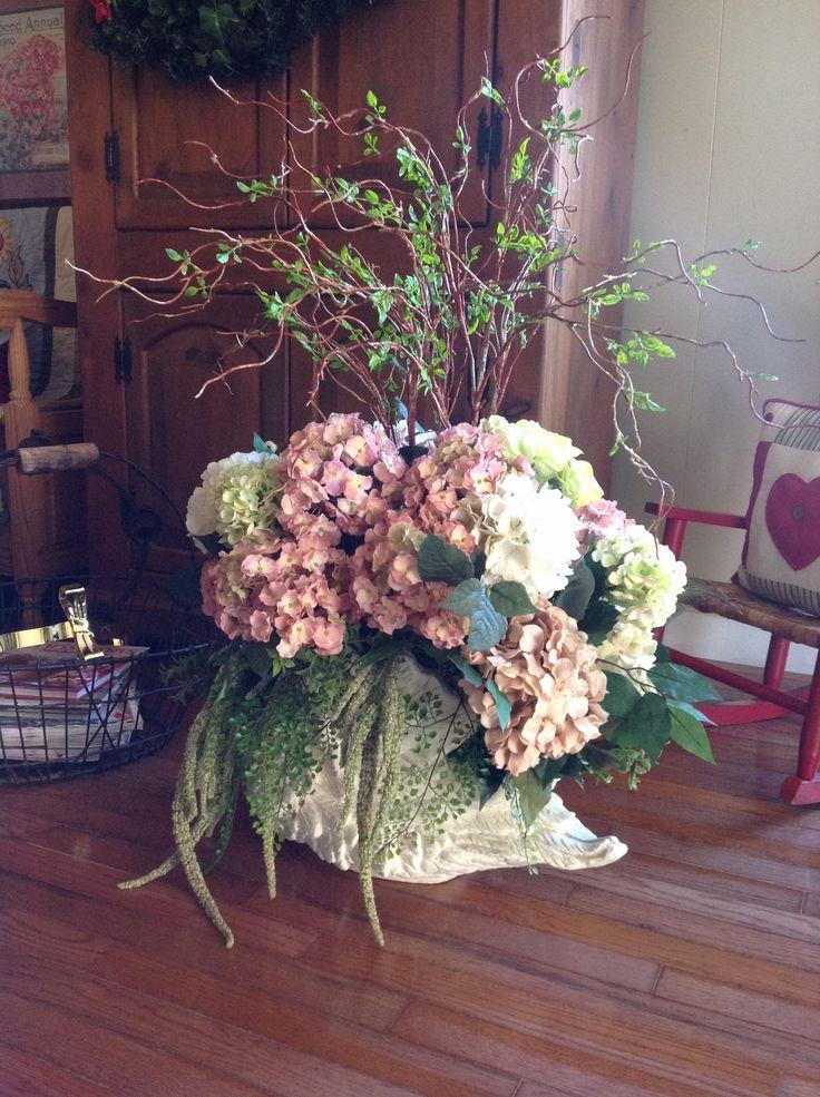 Silk hydrangeas arrangement for my mom!