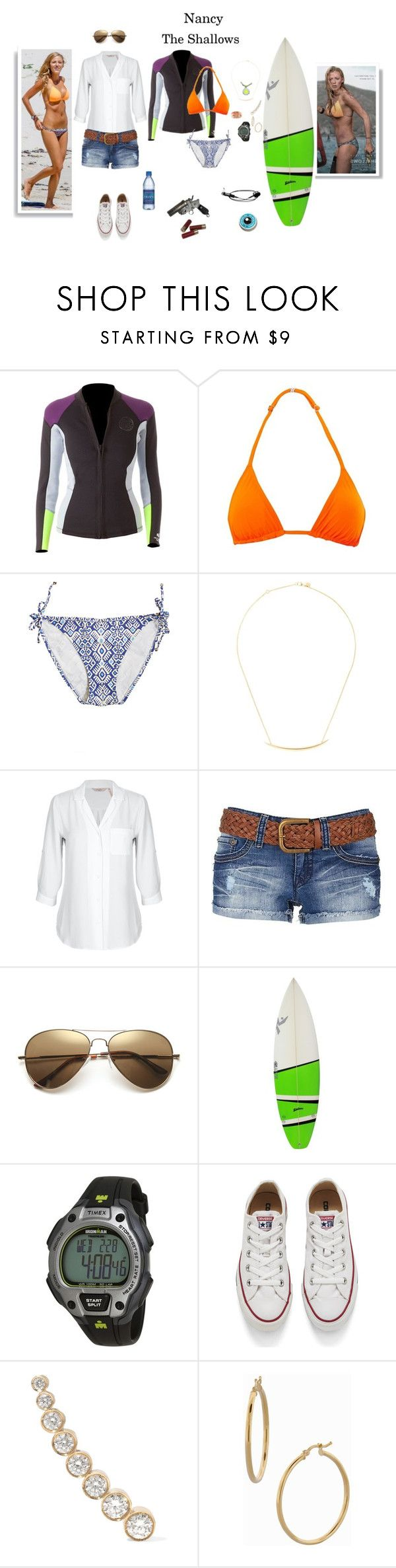 """Nancy - The Shallows"" by gone-girl ❤ liked on Polyvore featuring Rip Curl, Orlebar Brown, Calypso Private Label, Shaun Leane, YMI, Timex, Converse, Sophie Bille Brahe, Bony Levy and TheShallows"