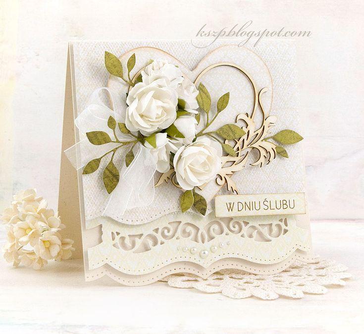 Witajcie :)  Na dzisiaj przygotowałam kartkę ślubną z pięknym tekturkowym sercem.  Kartkę wykonałam z jaśniutkich papierów z Rapakivi. Serc...