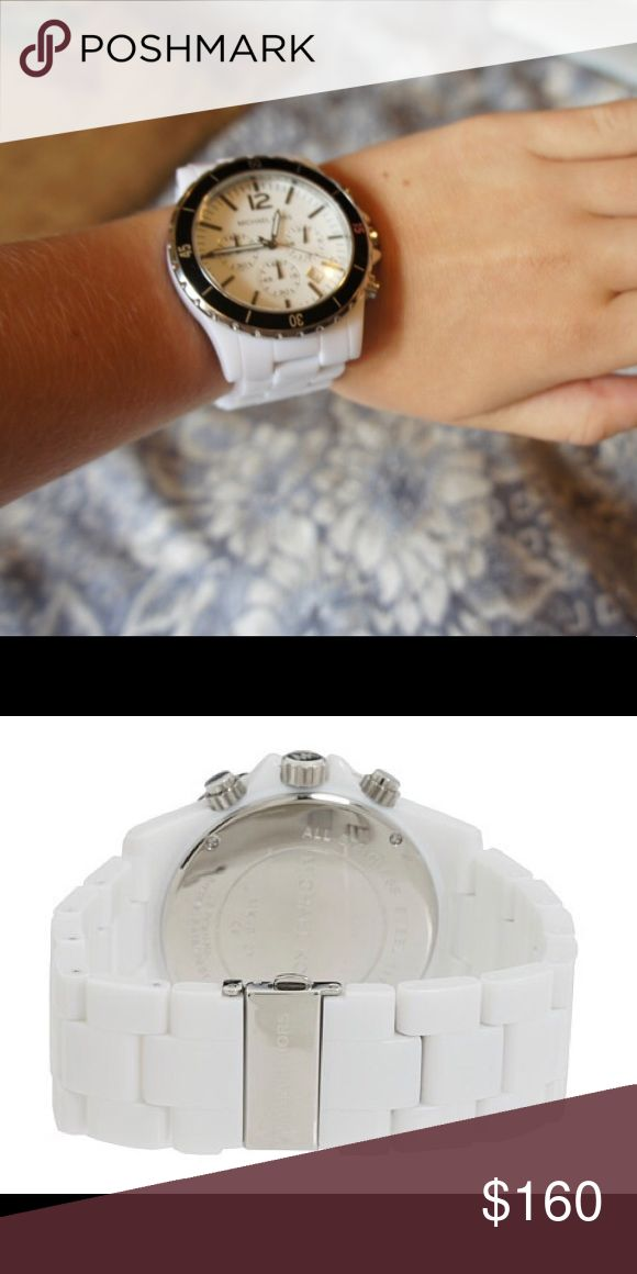 Michael Kors Black & White Oversized Watch Gently used. Sized for large wrist. Needs battery. In excellent condition. Michael Kors Accessories Watches