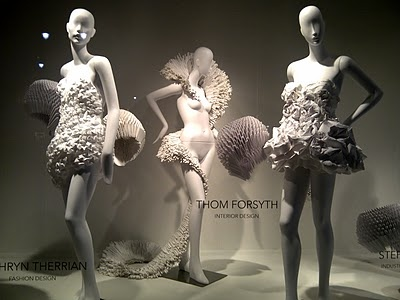 Love this paper dress window display... cool.