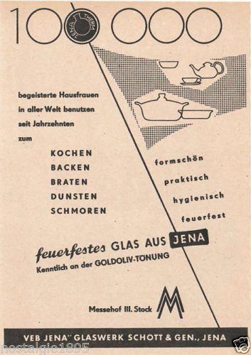 Reklame VEB Jena Glaswerk Schott & Gen., feuerfestes Glas 1957 | eBay  Größe 12/17 cm. Einem Journal der damaligen Zeit entnommen. Rückseite bedruckt.