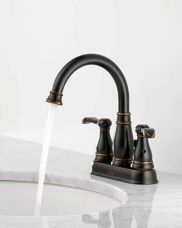 Delta Porter 4 In Centerset 2 Handle High Arc Bathroom Faucet In Oil Rubbed Bronze Beauty