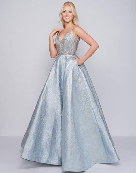 d1284de286b30 Mac Duggal Prom - 66701M Plunging Jewel-Strewn Metallic Ballgown in 2019 |  PROM Queen Dresses 2019 : Long & Short | Prom dresses, Dresses, Ball gowns