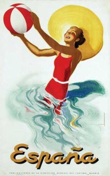 Espana, Spain - Vintage beach travel poster By Artist Marcias J. Morell. www.varaldocosmetica.it/en