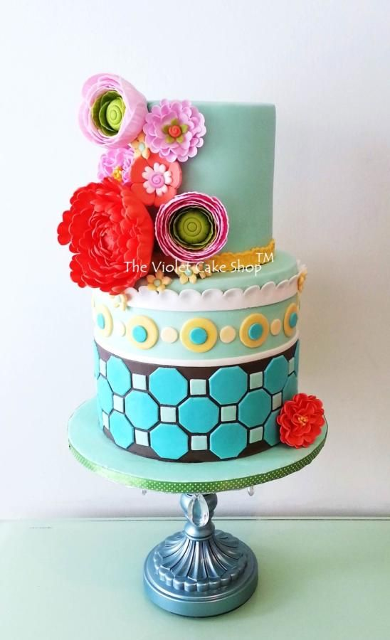 My Sis' MODERN & TRENDY Milestone Birthday Cake - by The Violet Cake Shop on CakesDecor - http://cakesdecor.com/cakes/117732-my-sis-modern-trendy-milestone-birthday-cake - https://www.facebook.com/pages/The-Violet-Cake-Shop/95259702360