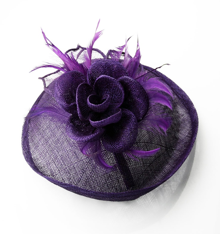 Purple Feather and Mesh Flower Fascinator