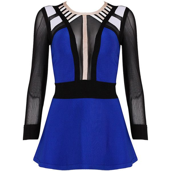 Posh Girl Royal Blue  Bandage Peplum Blouse ($78) ❤ liked on Polyvore featuring tops, blouses, multi, zipper blouse, zipper top, zip top, posh girl and peplum tops