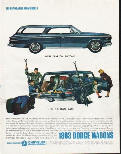 """1963 DODGE WAGONS vintage magazine advertisement """"take on anyone"""" ~ We'll take on anyone ... in the space race - Pack on the gear and step into a big automobile for a change. A 1963 Dodge 880 wagon! Here, you're a space man of the first order. ..."""