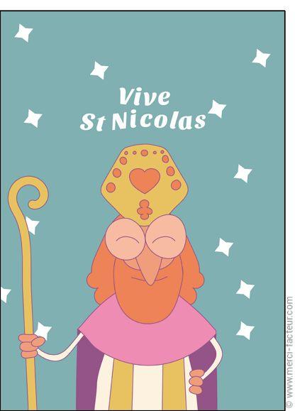 #Carte #SaintNicolas #stNicolas Carte Vive Saint Nicolas sur fond bleu pour envoyer par La Poste, sur Merci-Facteur !