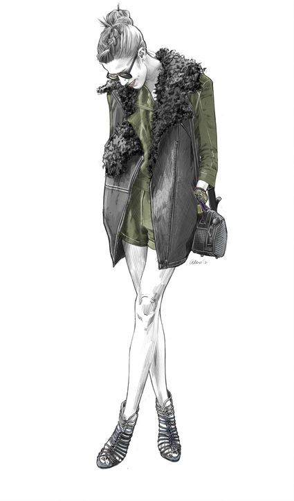Martha Graeff street style from NYFW, as illustrated by Alex Tang.