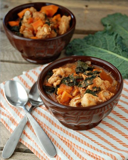 Paleo Slow Cooker Chicken, Sweet Potato, and Kale Stew