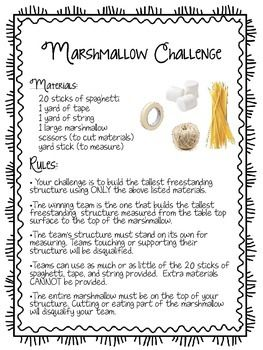 Marshmallow Challenge Handout. A great team building activity for the first days of school! Watched it in action, all types of students get involved! Love it!