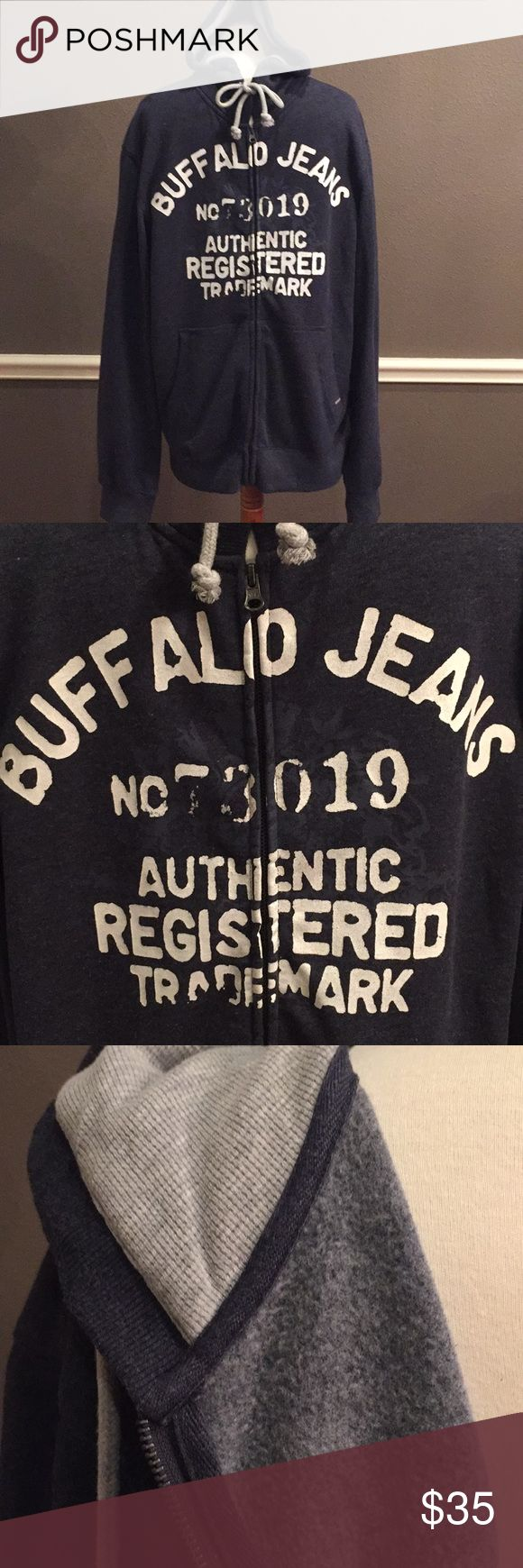 Men's Buffalo Jeans size large hooded zip jacket Men's Buffalo Jeans brand size large zip up sweatshirt.  Full zip. Blue. Great condition. Worn once or twice. Soft inside for comfort. Hood has thermal lining. Very nice. i jeans by Buffalo Shirts Sweatshirts & Hoodies