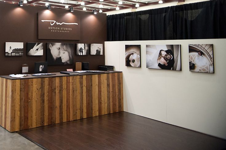 Bridal show booth - wood accents. Very simple clean, high-end looking booth