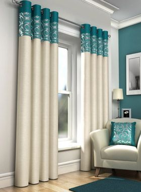 Skye Faux Silk Teal Eyelet Curtains | Eyelet Curtains | Curtains |  Linen4less.co.
