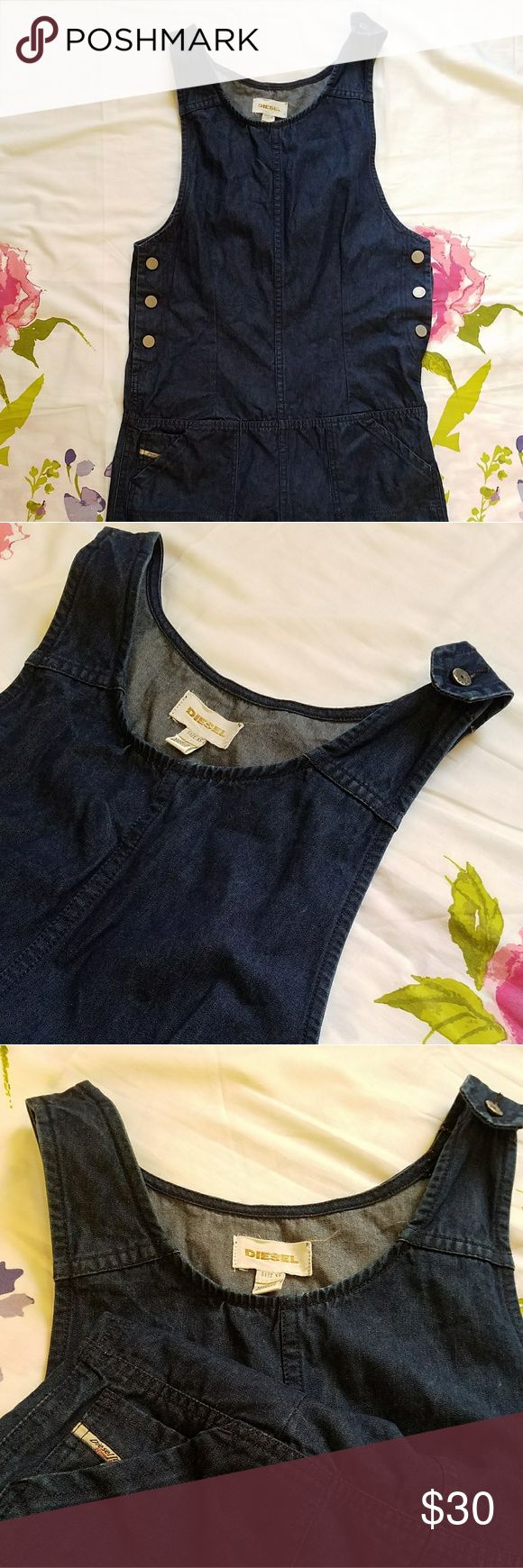 DIESEL Coverall Shorts Dark blue wash, snap buttons along both sides, also one shoulder strap has a button. 2 front pockets. Would wear with a white tee underneath and a cute hat! Diesel Tops