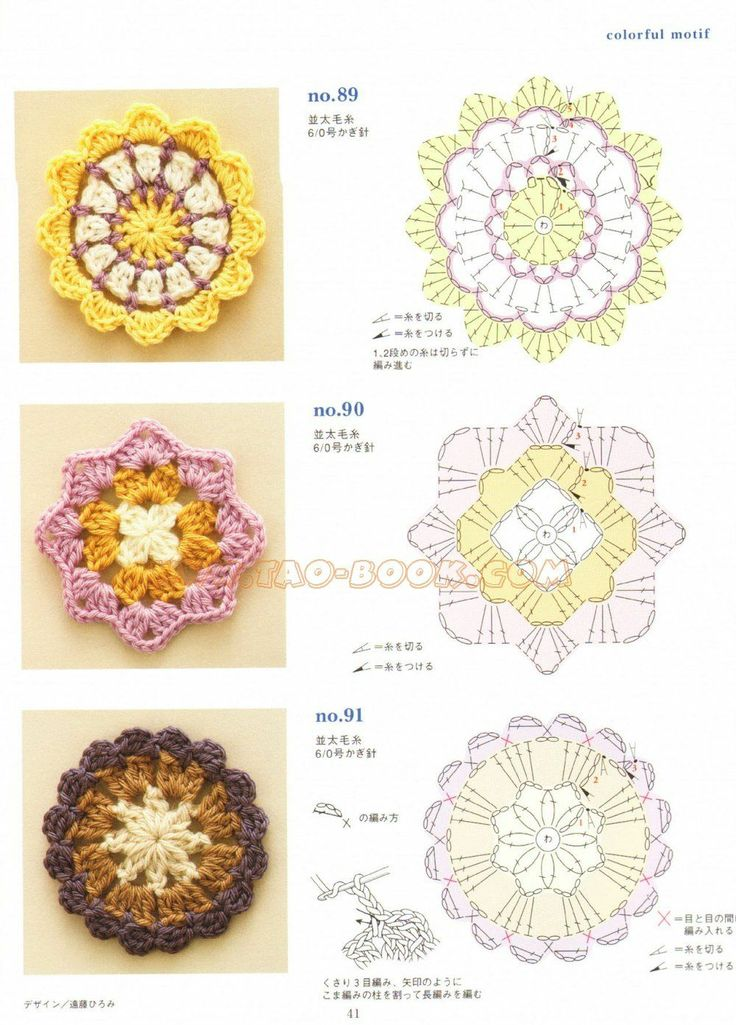 Flowers & Japanese patterns/Motifs CROCHET Pinterest
