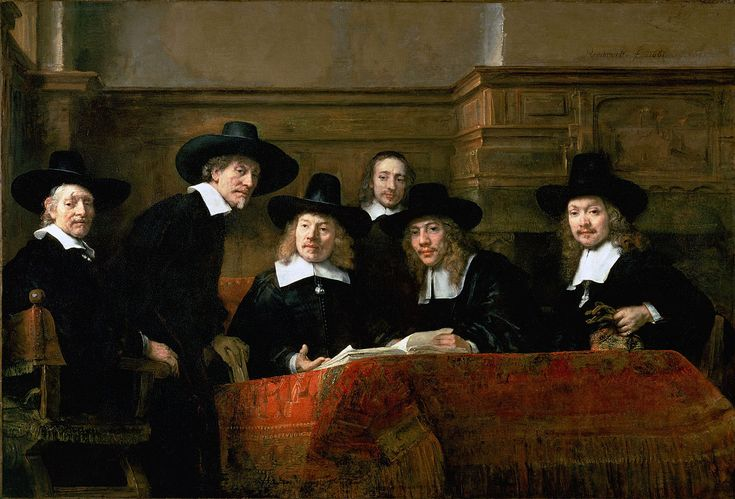 De Staalmeesters, van Rembrandt van Rijn. Omstreeks 1661 kreeg Rembrandt de opdracht een groepsportret te schilderen van de waardins ofwel keurmeesters van het lakengilde. Het uit vijf man bestaande college zetelde in het Staalhof. Rembrandt voltooide het groepsportret in 1662.