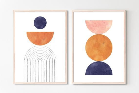 Set Of 2 Abstract Print Downloadable Mid Century Modern Printable Wall Art Burnt Orange Navy In 2020 Modern Printable Wall Art Modern Watercolor Art Pink Gallery Wall