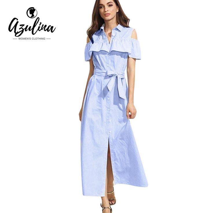 AZULINA Casual Blue Striped Long Shirt Summer Dress with Belt Cold Shoulder Cute A Line Women Ruffles Maxi Dress Split Sundress