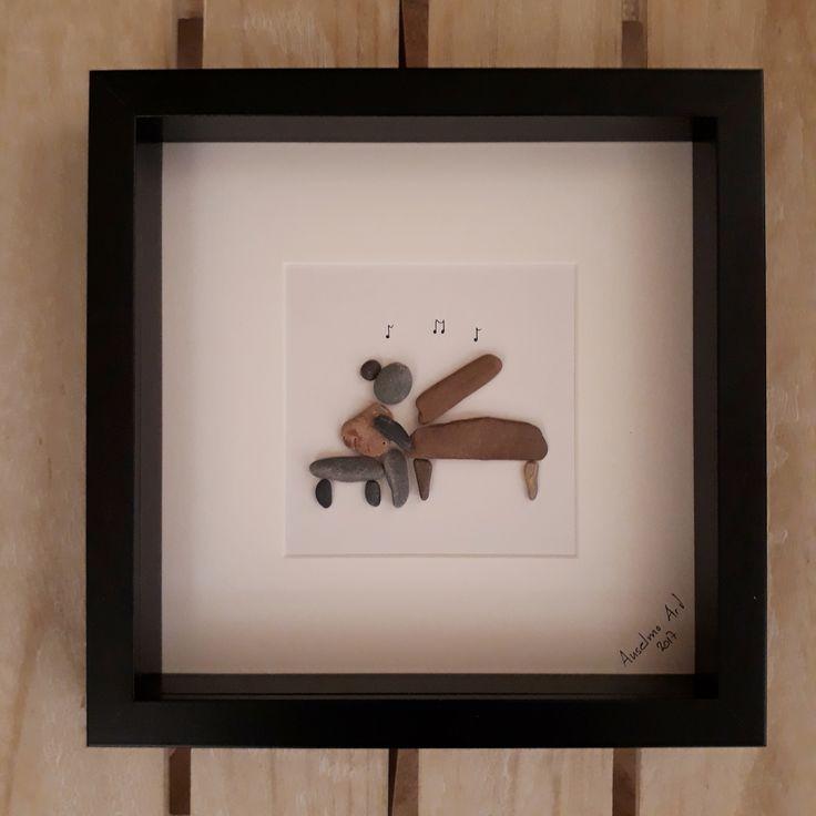 Pianist Pebble Picture, Pianist Gift, Pebble Art Piano Kit, Music Teacher Gift, Pebble Art, Unique Music Lover Art, Piano Kit Pebble Art, Piano