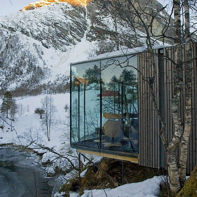 """Juvet Landscape Hotel is a meeting between raw Norwegian nature, cultural history and modern architecture. The hotel consists of nine individual and…"""