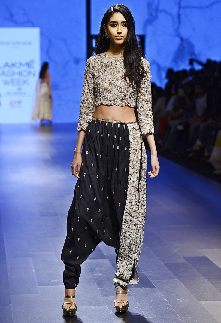 PAYAL SINGHAL Dove grey & black embroidered crop top & dhoti