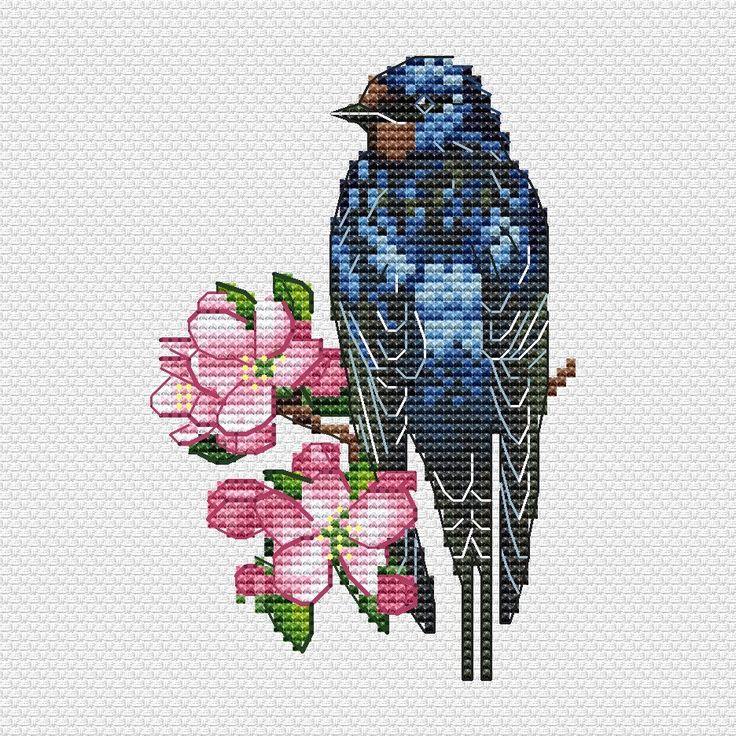 """Cross stitch design """"Barn Swallow"""" #sa_stitch #sa_pattern #pattern"""