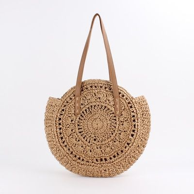Bohemian paper rope straw bags big circle beach handbags summer vintage rattan bag kintted travel bags