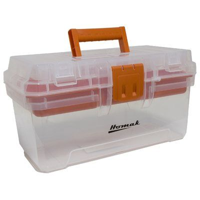 "Homak Plastic Transparent 15"" Tool Box"