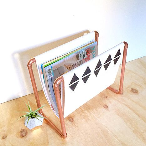 DIY Kit: Copper Magazine Rack - white fabric with black triangles