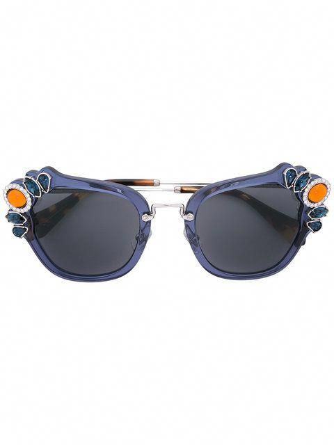 4a054ca8bdde Miu Miu Eyewear stone embellished sunglasses