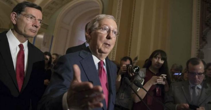 """""""This is Senate GOP trying to hide from their terrible health care bill. America—demand answers,"""" wrote Sen. Ron Wyden (D-Ore.) (Photo: J. Scott Applewhite/AP)"""