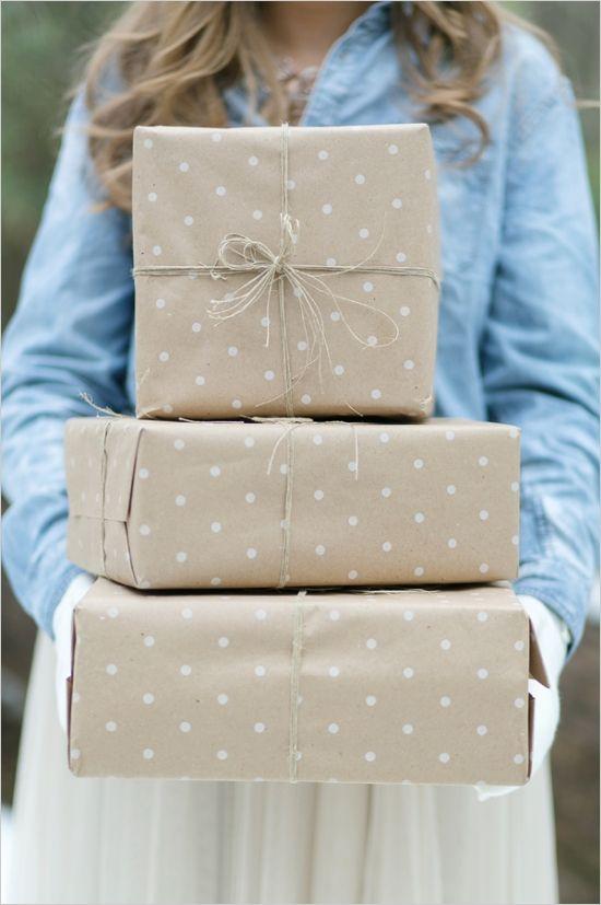 Polka dot wrapping and raffia