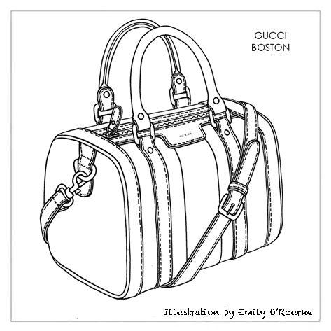GUCCI - BOSTON BAG - Iconic Famous Designer Handbag Illustration / Sketch / Drawing / CAD / Borsa Disegno / Product illustrator / Illustrazioni Borse /  styliste sac à main
