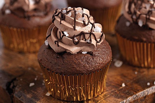 Chocolate cupcakes get the salted-caramel treatment with a filling of caramel, a dollop of chocolate whipped frosting and a sprinkling of sea salt.