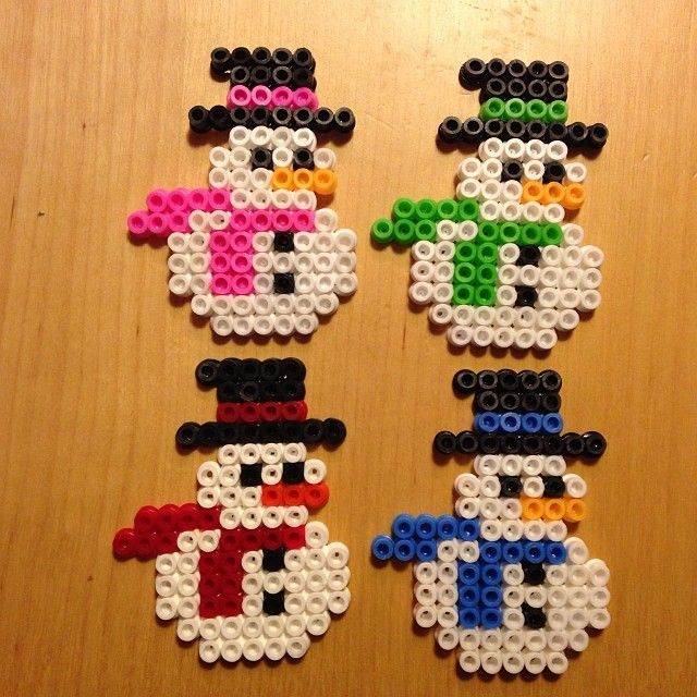 Colorful snowmen -- perler beads