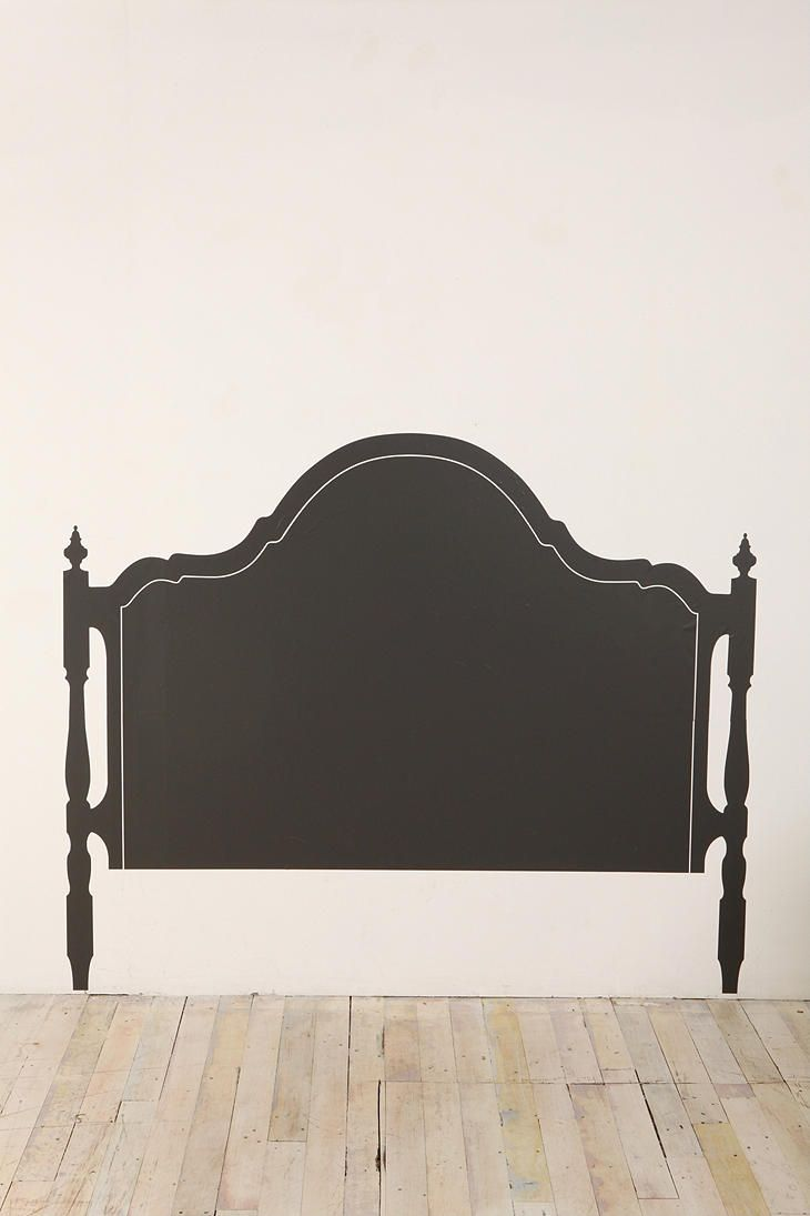 Inspiration:This is a wall decal which could work or how about painting a headboard on the wall