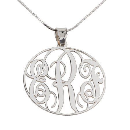 32 best monogram necklace images on pinterest monogram necklace this sterling silver personalized monogram pendant necklace is an exquisite and chic way to show that special person in your life how much you care aloadofball Images